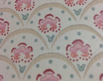 1 yard of Wallcovering Wall paper Cream Background with Pink flowers Pre pasted