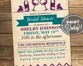 Bridal Shower Invitation, Wine Party, Wedding Shower, Vintage, Rustic, Purple, Teal, Printable (Custom Order, INSTANT DOWNLOAD)