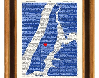 Manhattan Map Art Print, Upper East Side Heart, ''METROPOLITAN'' dictionary book page reproduction, 11x14 Print,  New York, map state art