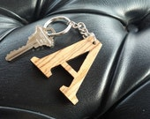 "Wooden Laser Cut Letter ""A"" Keychain"