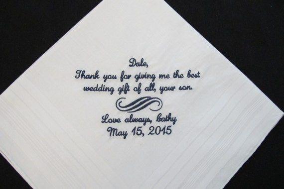 Embroidered Father of the Groom Wedding Handkerchief