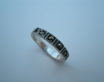 Vintage Sterling Silver Ring - Marcasite Ring - Size 8 Band