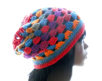 Women's Slouchy Hat, Wool Crochet Hat, Boho Beanie in Primary Colors, Medium to Large Size