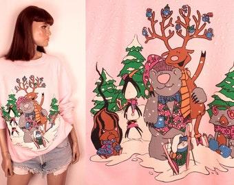 vintage snow animals sweatshirt // ski bunny