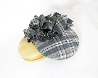 Wool Check Pillbox Hat ~ Mini Hat ~ Fascinator