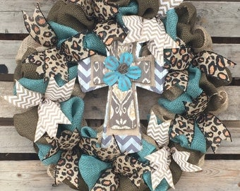 Burlap Wreath, Cross Wreath, Animal Print Wreath, Turquoise Wreath, Housewarming Gift, Rustic Home Decor, Door Hanger, Personalized Wreath,