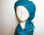 Teal petrol blue felt scarf and beret for her - TURQUOISE felted Hat and Scarf Set  - OOAK hat For Her - Teal blue wool scarf and hat
