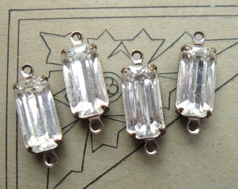2-Loop Connectors 12x6mm Crystal Glass Elongated Octagon Rhinestones in Brass Ox Settings (4)