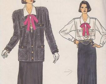 1980s French Designer Knock-Off Power Suit Vintage Pattern, Vogue 9115, Long Cardigan Jacket, Slim Skirt, Tailored Blouse, Padded Shoulders