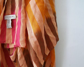 TIE RACK London Big Cotton Scarf Shawl, Pink Orange Brown Stripes Soft huge Neck warmer Head Hair wrap, Warm colors Oversized Fashion Scarf