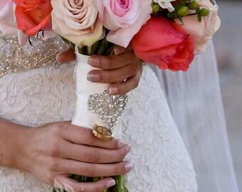 Bridal Bouquet Wrap, Crystal Wrap, Beaded Floral Wrap, Crystal Bouquet Wrap, Pearl Bouquet Wrap, Rhinestone Wrap, Bouquet Cuff, Flower Wrap
