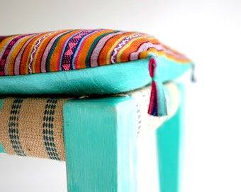 Cushion made from Vintage Timor Sarong for Chez Boheme DayBench