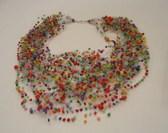 Free Shipping!!! Handmade. Multistrand Air Necklace. Jewelry Bead Crochet Necklace. Multi-Color. #29