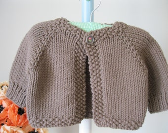 Handmade baby sweater ...........cocoa brown cardigan with 'flower' button