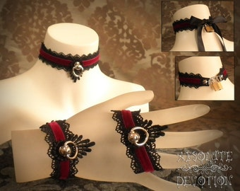 Cynthia Locking Collar and Cuffs Set in Dark Red and Black with Large Bow - Made to Order - Choose Your Size - Absolute Devotion