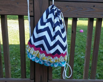 Custom CHILDRENS Size Navy Chevron Drawstring Backpack