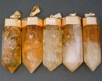 Lovely Polished Citrine Quartz Point Pendant with Electroplated 24k Gold Cap and Bail (S21B12-01)