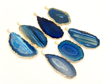Blue Agate Slice Druzy Pendant Electroplated with 24k Gold Edges - Drusy Agate Slice Pendant - AGSP
