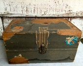 Vintage Small Wood Trunk, primitive with travel stickers shabby chic