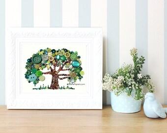 16x20 Button Art Tree of Life Button Art with Swarovski Rhinestones Button Oak Tree Genealogy Heirloom Family Tree 16x20