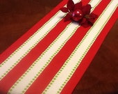 Table Runner - Select a Size  - Christmas Table Runner -  Red and White Stripe with Green Dots Holidays, Home Decor, Weddings and Parties