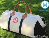 Monogram Canvas Round Duffel Bag - Personalized Duffel Bag -Mongrammed Duffel Great For Weekend Getaways -Canvas Duffel Bag Monogrammed FREE