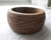 Vintage Etched Wood Bracelet Wide Natural Bangle
