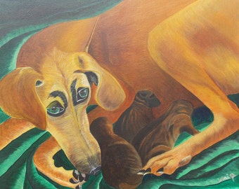 Dog Painting Puppy Painting Mother and Baby Painting Original Painting Acrylic Painting