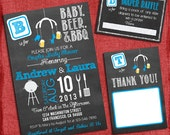 Printable BBQ and Beer Couples Baby boy Shower Chalkboard Set -Invite + Diaper Raffle Ticket + Thank You Card   - I design you print