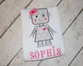 Girl's Robot Valentine's Day Applique Design - Girl's Valentine's Shirt