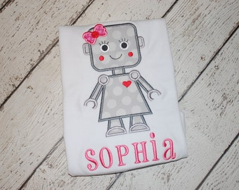 Girl's Robot Valentine's Day Applique Design - Girl's Valentine's Shirt