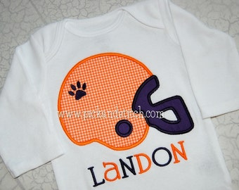 Boy's Football Helmet Applique Shirt - Personalized Tigers Shirt - Auburn Applique