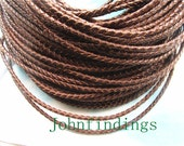 high quality 10 yards 3mm thickness round midium brown genuine/real braided leather cords