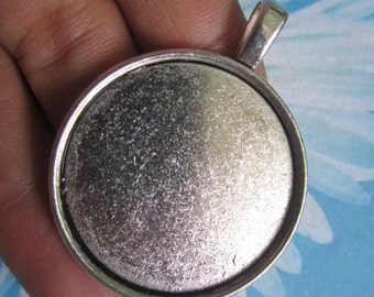 10pc 33mm Antiqued Silver cabochon/cameo(30mm) round base setting pendants