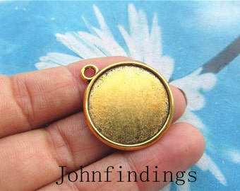 100pc 25mm antiqued gold cabochon/cameo(22mm) round base setting pendants