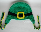 SALE-Earflap Crochet Leprechaun Green-Buckle Hat-Saint Patrick's Day Luck of the irish.