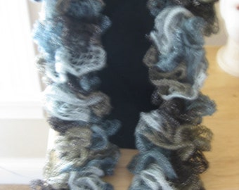 Hand knit Ruffle scarf in brown, tan, grey and blue tones