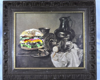 The Cheeseburger.  Found Frame Acrylic painting.
