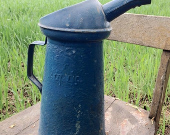Vintage metal pitcher • vintage farm pitcher • vintage oil can