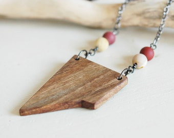 Long wood necklace with gemstones,walnut wood pendant,wood minimal necklace