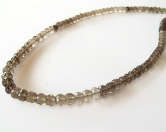 Smoky quartz faceted rondelle classical necklace. Smoky quartz draduated color choker necklace. Mother's Day gift.