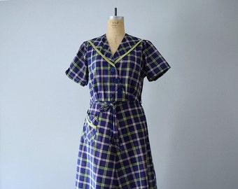 1950s plaid dress . 40s 50s days dress . plus size dress