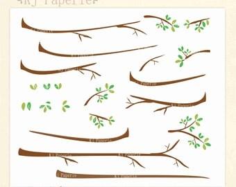 Branch Clip art,  scrapbooking,foliage clip art, branches clip art, instant download