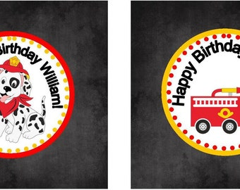 Firetruck cupcake toppers, fire engine tags, party tags, party favor tags, red engine tags, fire truck party tags, red engine party tags
