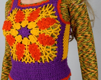 Sale - Vintage 1970's Charlie's Girls HiPPiE BoHo Crocheted Color Blocked colorful Woodstock FLoWeR Sweater Vest Size S