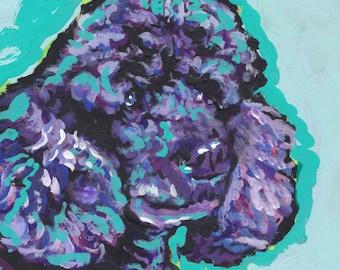 black poodle art print of pop dog painting bright colors 8x8 Lea