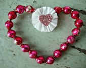 Vintage Hot Pink Mercury Glass Bead Heart