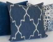 Modern navy moroccan ikat decorative throw pillow cover