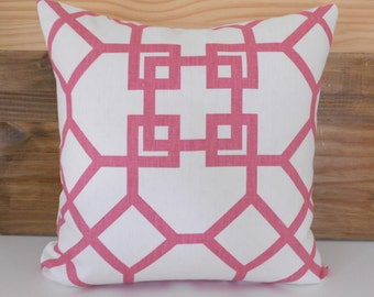 Designer pink pillow cover, Windsor Smith for Kravet,  xu garden orkid,  pink trellis pillow