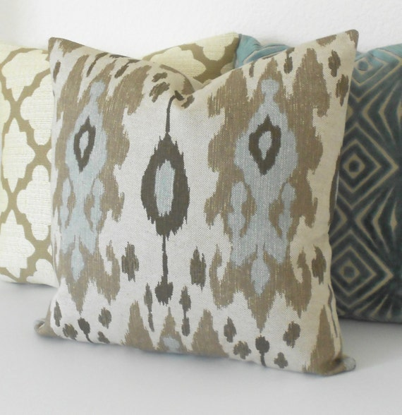 Ikat decorative pillow cover light blue brown and grey for Brown and gray throw pillows